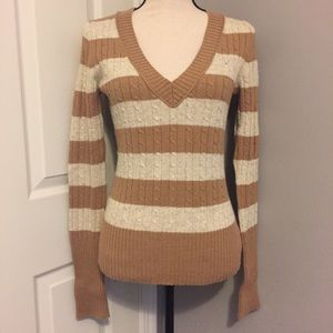 American Eagle V-neck Cable Knit Striped Sweater